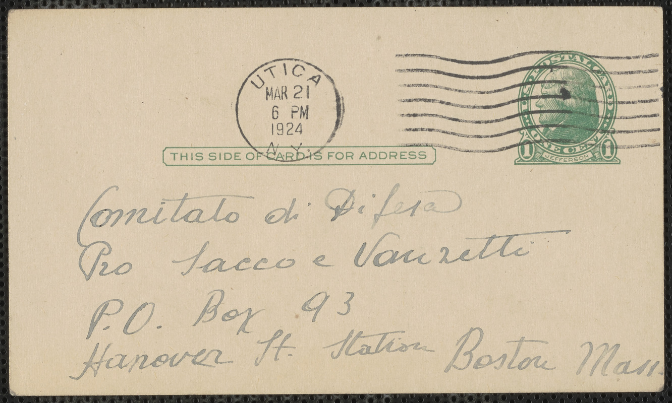 G. Sabella autograph note signed (postcard), in Italian, to Sacco-Vanzetti Defense Committee, Utica, N.Y, March 21, 1924