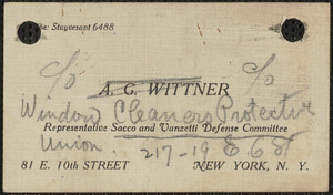 A.G. Wittner business card, [1924]