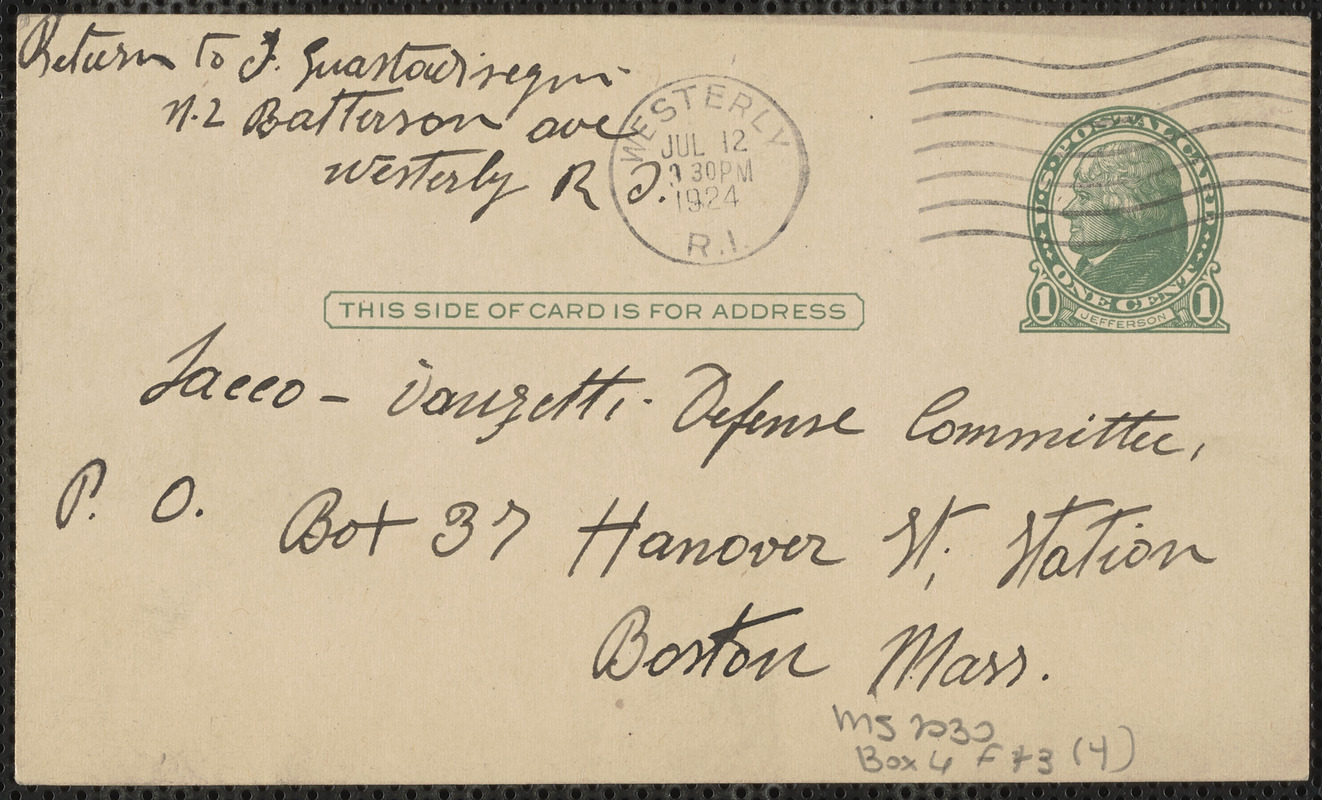 Guastadisegni autograph note signed (postcard), in Italian, to Sacco-Vanzetti Defense Committee, Westerly, R.I., July 10, 1924