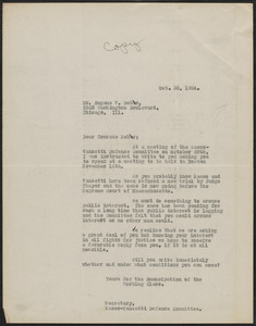 Frank R. Lopez (Sacco-Vanzetti Defense Committee) typed letter (copy) to Eugene V. Debs, Chicago, Ill., October 30, 1924