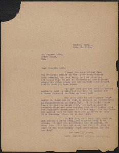 Sacco-Vanzetti Defense Committee typed letter (copy) to Eugene V. Debs, Boston, Mass., December 24, 1924