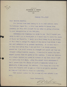 Eugene V. Debs typed letter signed to Mary Donovan, Terre Haute, Ind., January 6, 1925