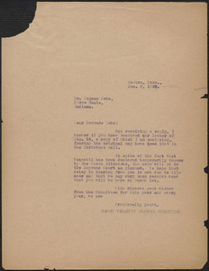 Sacco-Vanzetti Defense Committee typed letter (copy) to Eugene V. Debs, Boston, Mass., January 8, 1925