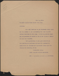 Sacco-Vanzetti Defense Committee typed letter (copy) to New York City Labor Organizations, Boston, Mass., February 14, 1925