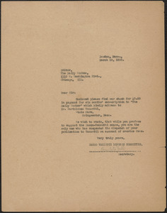 Amleto Fabbri (Sacco-Vanzetti Defense Committee) typed letter (copy) to Editor, The Daily Worker, Boston, Mass., March 12, 1925