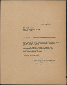 Amleto Fabbri (Sacco-Vanzetti Defense Committee) typed letter (copy) to The Daily Worker (attention: Mortiz J. Loeb), Boston Mass., March 13, 1925