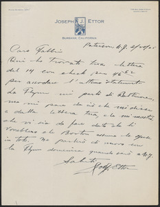 Joseph J. Ettor autograph letter signed, in Italian, to Amleto Fabbri, Patterson, N.J., March 20, 1925