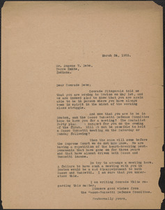 Sacco-Vanzetti Defense Committee typed letter (copy) to Eugene V. Debs, Boston, Mass., March 24, 1925