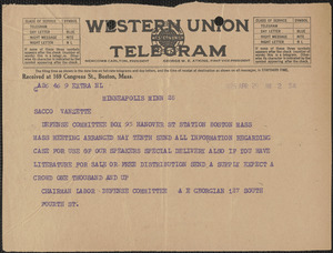 A. Georgian telegram to Sacco-Vanzetti Defense Committee, Minneapolis, Minn., April 29, 1925