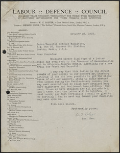 W. T. Colyer typed letter signed. to Sacco-Vanzetti Defense Committee, London, Eng., October 23, 1925