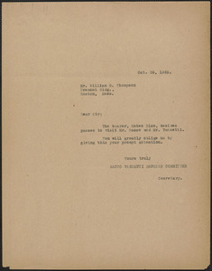 Sacco-Vanzetti Defense Committee typed note (copy) to William G. Thompson, Boston, Mass., October 26, 1925
