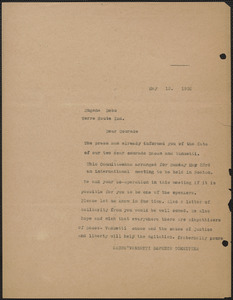 Sacco-Vanzetti Defense Committee typed letter (copy) to Eugene V. Debs, Boston, Mass., May 15, 1926