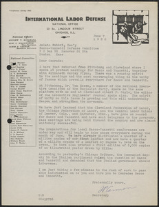 James P. Cannon (International Labor Defense) typed letter signed to Amleto Fabbri, Chicago, Ill., June 7, 1926
