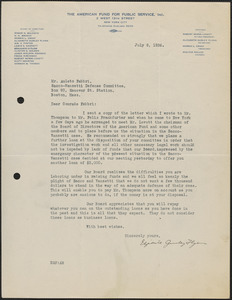 Elizabeth Gurley Flynn (The American Fund for Public Service, Inc.) typed letter signed to Amleto Fabbri, New York, N.Y., July 8, 1926