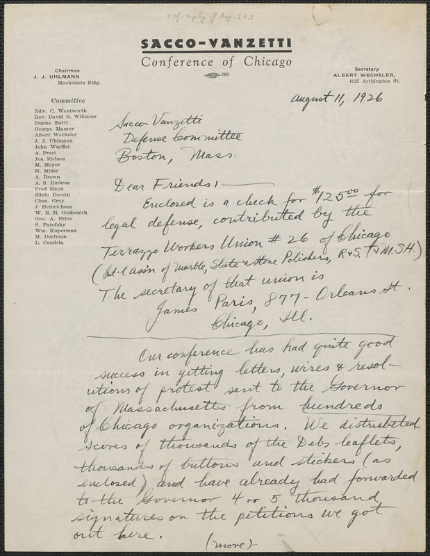 Albert Wechsler (Sacco-Vanzetti Conference of Chicago) autograph letter signed to Sacco-Vanzetti Defense Committee, Chicago, Ill., August 11, 1926