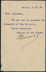 Avanti typed note signed postcard to Saccco-Vanzetti Defense Committee, Milan, Italy, December 2, 1926