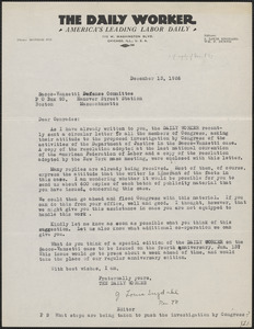 J. Louis Engdahl (The Daily Worker) typed letter signed to Sacco-Vanzetti Defense Committee, Chicago, Ill., December 13, 1926