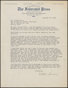 Esther Lowell (The Federated Press) typed letter signed to Joseph Moro, New York, N.Y., 27 December 1926