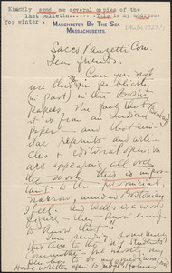 Blanche Watson autograph letter signed to Sacco-Vanzetti Defense Committee, Manchester-By-The-Sea, Mass., [Winter 1927?]