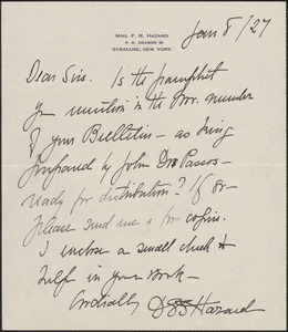 Dora G. Sedgwick Hazard autograph note signed to Sacco-Vanzetti Defense Committee, Syracuse, N.Y., January 8, 1927