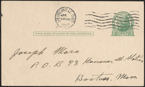 G. Simone autograph note (postcard) to Joseph Moro, Steubenville, Ohio, April 1927