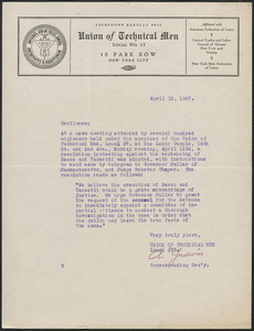 A. Judwin (Union of Technical Men, Local No. 37) typed letter signed to Sacco-Vanzetti Defense Committee, New York, N.Y., April 13, 1927