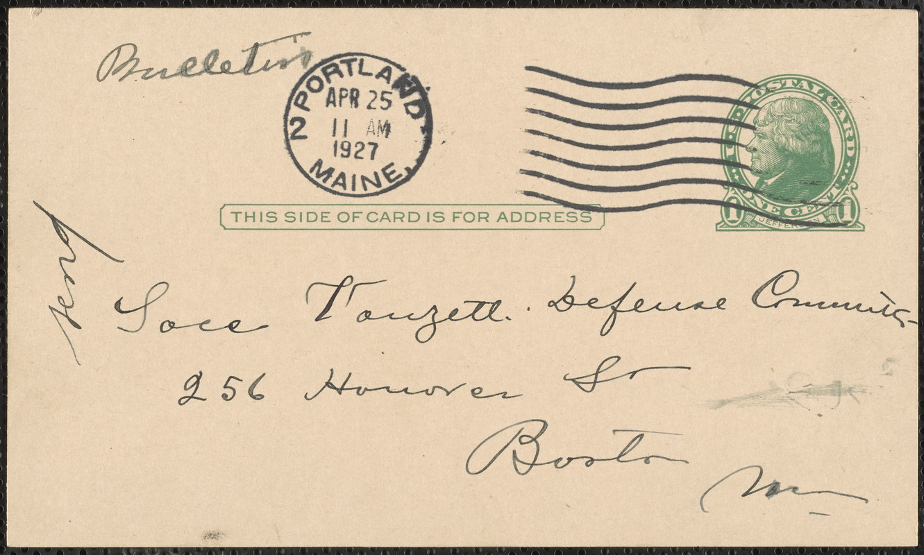 Frank Albano autograph note signed (postcard) to Sacco-Vanzetti Defense Committee, Bangor, Me., April 24, 1927