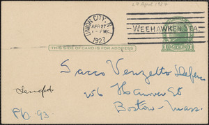 M. Abber autograph note signed (postcard) to Sacco-Vanzetti Defense Committee, Union City, N.J., April 27, 1927