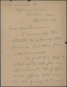 Alice Stone Blackwell autograph letter signed to Mary Donovan, Boston, Mass., April 28, 1927