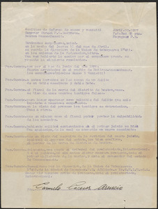 Carmelo Caceres Ascencio typed letter signed, in Spanish, to Sacco-Vanzetti Defense Committee, Mayaguez, Puerto Rico, April 29, 1927