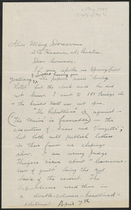 Nelson West autograph letter signed to Mary Donovan, Ludlow, Mass., May 2, 1927