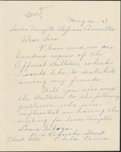 A. Lorenzon autograph note signed to Sacco-Vanzetti Defense Committee, Philadelphia, Pa., May 20, 1927