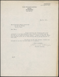 Giacinto Leccisi typed note signed to Sacco-Vanzetti Defense Committee, New York, N.Y., May 21, 1927