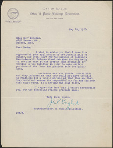 John Englert (City of Boston, Office of Public Buildings Department) typed letter signed to Mary Donovan, Boston, Mass., May 26, 1927