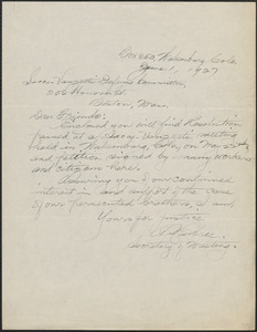 Autograph note signed to Sacco-Vanzetti Defense Committee, Walsenburg, Colo., June 1, 1927