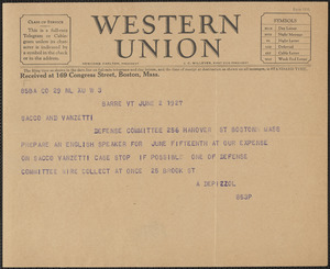 A. Depizzol telegram to Sacco-Vanzetti Defense Committee, Barre, Vt., June 2, 1927
