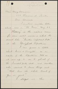 Nelson West autograph letter signed to Mary Donovan, Ludlow, Mass., June 21, 1927