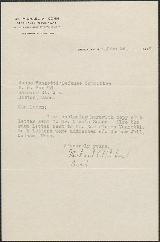 Michael A. Cohn typed note signed to Sacco-Vanzetti Defense Committee, Brooklyn, N.Y., June 29, 1927