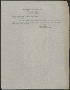 A. Forman (Workmen's Circle Br. 626) typed note to Sacco-Vanzetti Defense Committee, Omah, Neb., June 30, 1927