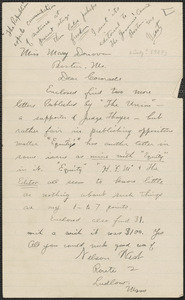 Nelson West autograph note signed to Mary Donovan, Ludlow, Mass., [July? 1927]