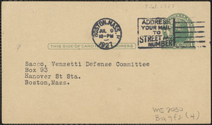 Boston Publishing Company printed postcard to Sacco-Vanzetti Defense Committee, Boston, Mass., July 9, 1927