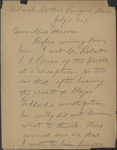 Alice Stone Blackwell autograph letter signed to Mary Donovan, Chillmark, Mass., July 11, 1927
