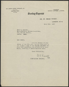 A. J. Foxwell (Sunday Express) typed note signed to Mary Donovan, London, Eng., July 12, 1927