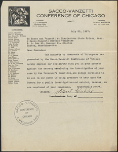 Albert Wechsler (Sacco-Vanzetti Defense Conference of Chicago) typed letter signed to Sacco-Vanzetti Defense Committee, Chicago, Ill., July 23, 1927