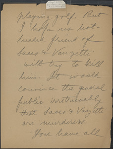 Alice Stone Blackwell autograph letter signed (incomplete) to [Sacco-Vanzetti Defense Committee], [August? 1927]