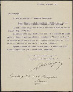 Carlo Frigerio typed letter signed, in Italian, to Sacco-Vanzetti Defense Committee, Geneva, Switzerland, August 9, 1927