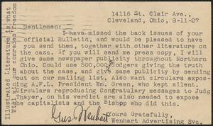 Gus Wenhart typed note signed (postcard) to Sacco-Vanzetti Defense Committee, Cleveland, Ohio., August 11, 1927