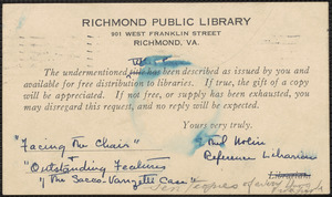 Ethel Nolin (Richmond Public Library) note signed (postcard) to Sacco-Vanzetti Defense Committee, Richmond, Va., August 12, 1927