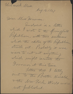Alice Stone Blackwell autograph letter signed to Mary Donovan, Chilmark, Mass., August 14, 1927