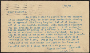 Lester Shulman (Socialist Youth Campaign Committee) typed note (postcard) to Sacco-Vanzetti Defense Committee, Brooklyn, N.Y., August 16, 1927